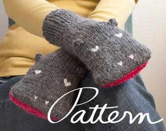 PATTERN - Knit Hippopotamus Mittens Digital Download - PDF File - Adult Sizes - Child Sizes - Animal Hand Puppets - Knitting - Grey