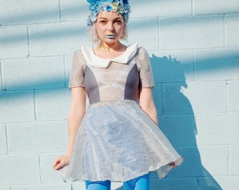 New York Couture  Limited Edition SHEER Peter Pan Collar Pastel Grey Stripes Dress