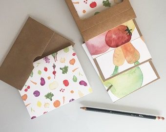 Watercolor Produce Greeting Card Set - Vegetables and Fruit Notecards - set of six - any occasion boxed cards - gift for gardener