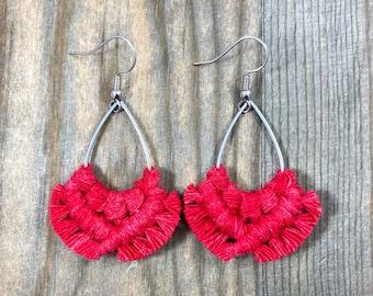 Red Teardrop Fringe Earrings. Red Fringe Earrings. Red Macrame Earrings. Boho Earrings. Red Statement Earrings.