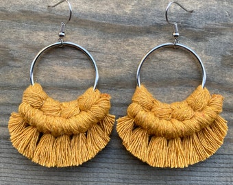 Macrame Earrings. Mustard Fringe Earrings.  Knotted Fringe Earrings. Boho Fashion. Boho Earrings.