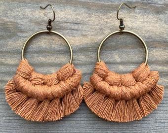 Cinnamon Macrame Earrings. Cinnamon Fringe Earrings.  Knotted Fringe Earrings. Small Boho Earrings. Small Statement Earrings.