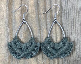Army Green Teardrop Fringe Earrings. Army Green Fringe Earrings. Green Macrame Earrings. Green Boho Earrings. Small Statement Earrings.