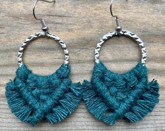 Green Fringe Earrings. Small Green Fringe Earrings. Green Macrame Earrings. Small Statement Earrings.