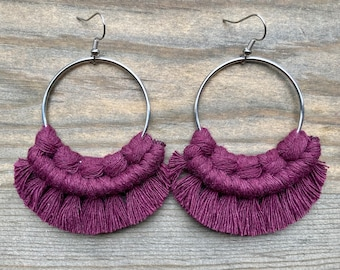 Plum Fringe Earrings. Plum Purple  Macrame Earrings. Large Earrings. Knotted Fringe Earrings. Boho Fashion.