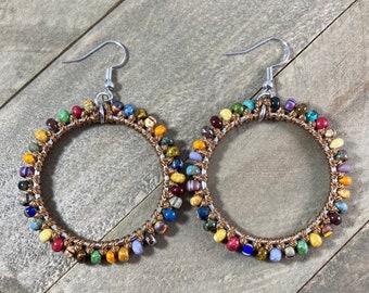 Beaded Statement Earrings. Beaded Hoop Earrings. Macrame Hoop Earrings. Knotted Earrings. Large Statement Earrings.