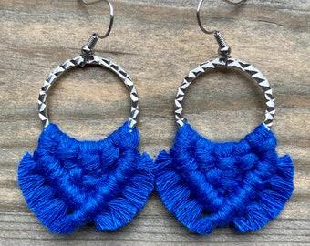 Cobalt Blue Fringe Earrings. Small Dusty Blue Fringe Earrings. Cobalt Blue Macrame Earrings. Bright Blue Statement Earrings.