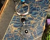 Blue Moon Crescent Locket Necklace