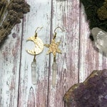 Moon And Star Asymmetrical Gemstone Earrings | Celestial Mismatched Hammered Brass Copper Crescent | Modern Witch