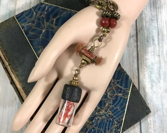 SALE Naturalist Oceanic Reliquary Coraline Born of the Sea Bottle Charm Necklace One of a Kind Art Jewelry Mini Shrine