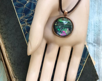 Mini Aqua Green Black and Hot Pink Planet Abstract Acrylic Art Copper Pendant Store Closing SALE