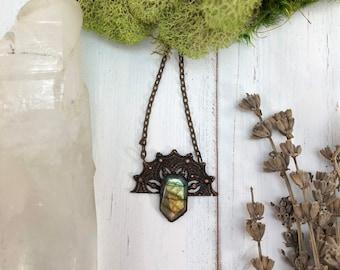 The Seer Copper Labradorite Necklace   Electroformed Gemstone Copper Pendant    Boho Modern Witch