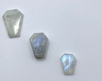 Rainbow Moonstone Coffin Cabochon Lot, 3 Coffin Cabs, Moonstone Cabs