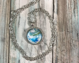 Oceanic Swirled Planet  Abstract Acrylic Art Silver Pendant Store Closing SALE