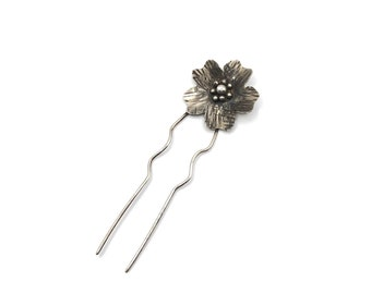 Sterling Blossom Hair Pin, Sterling Floral Hair Fork, Bridal Hair Accessory