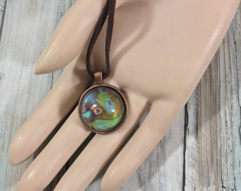 Mini Aqua Green Yellow Planet Abstract Acrylic Art Copper Pendant Store Closing SALE