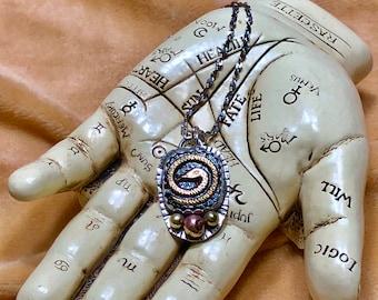 Sacred Snake Sterling Pendant, Vintage Serpent Glass Cab, Mystical Necklace