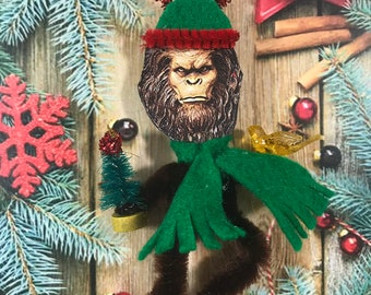 Vintage Style Bigfoot with Bird Chenille Ornament, Sasquatch, Cryptozoology, Cryptid Christmas Ornament Feather Tree,  Yeti Gift, FINAL SALE