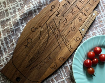 Palmistry Hand Cutting Board and Charcuterie Tray, Occult Home Decor, Kitchen Witch