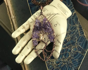 Amethyst Copper Tree of Life with Kitty Necklace | Bodhi Pendant | Wire Wrapped Copper | One of A Kind | Boho |Gift For Her