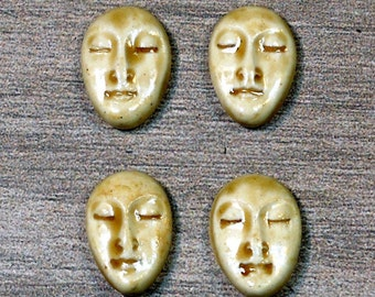 Set of Four Small Almond Ceramic Face Stone Cabochons in Peachy Tan