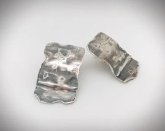 Sterling organic rectangular stud earrings