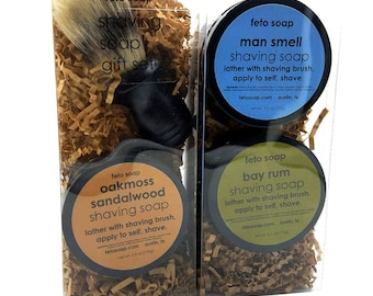 Shaving Soap Trio +  Shaving Brush Gift Set