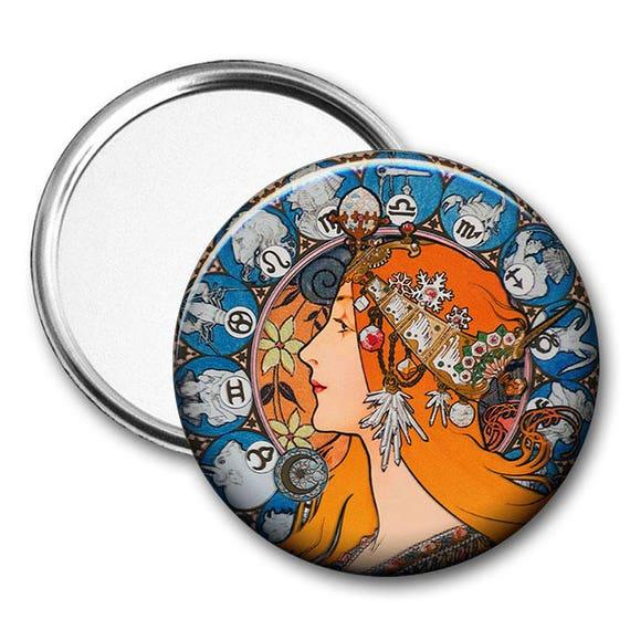 Alphonse Mucha Zodiac le Plume Pocket Mirror tartx