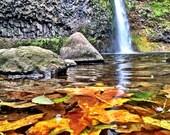 Waterfall print, Horsetail Falls, Nature Photography, Portland, Portland Oregon, Autumn, Nature Print, Oregon Print, 8x10 Print