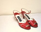 VINTAGE RED BOMBSHELL HEELS / Strappy Leather Sandal Toe Stilettos / Nordstrom 9/9.5