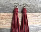 Red Tassel Drop Earrings in Deep Brick Jewel Tone Faux Suede Leather - 3 quot Long Tassel Dangle Earrings