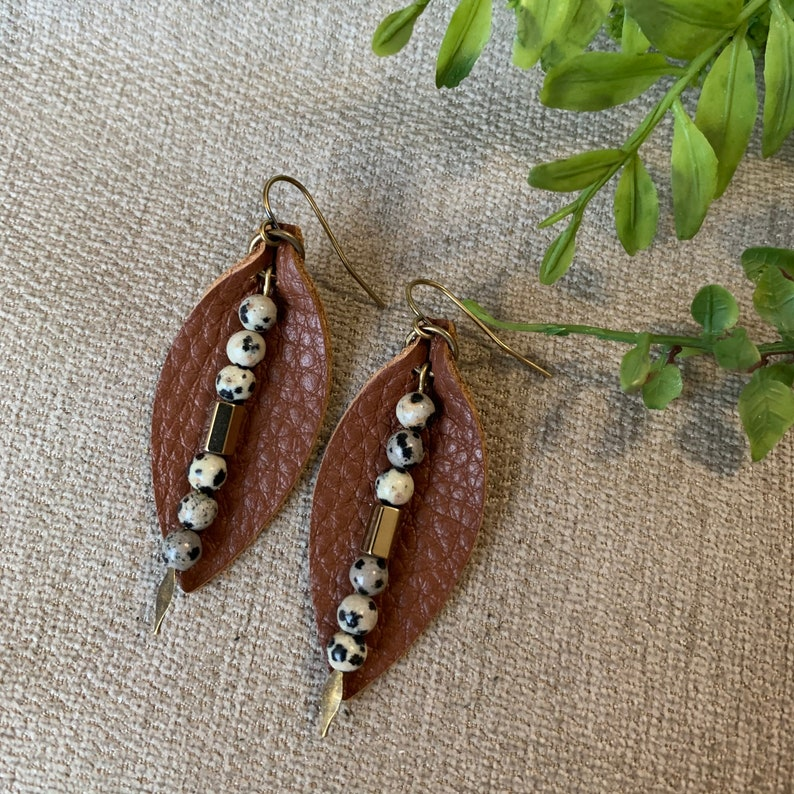 Leather Earrings with Natural Stone Dangle Brown Leather Petal with Dalmatian Jasper Earrings Boho Stone Earrings Gift for Her