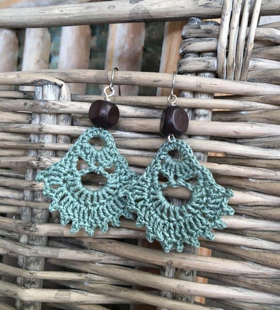 Modern Bohemian Crocheted Earrings in Sage Green with Wooden Bead