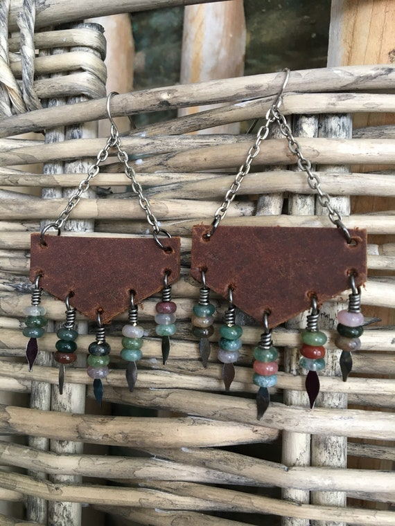 Earthy Bohemian Leather Fringe Dangle Earrings in Deep Brown Leather with Agate Drops  - Gift for Her