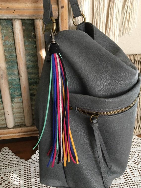 "Bright Tassel Keychain Bag Charm - Large Tassel  8"" + clip - Fringe Tassel Keychain, Tassel for Purse, Boho Keychain, Gift for Her (LT202)"