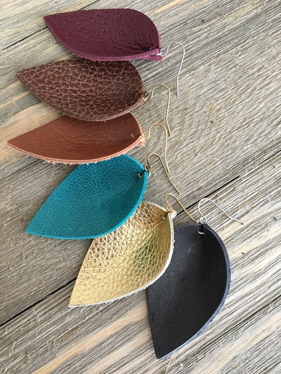"Leather Teardrop Leaf Earrings in Fall Colors - Choose Your Color and Finish - 2.25"" Drop Statement Earrings"