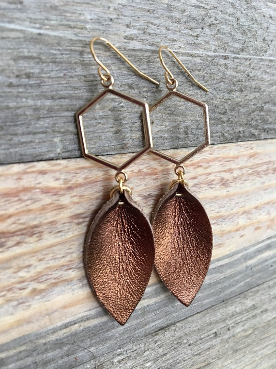Bronze Metallic Leather Leaf Earrings on Gold Geometric Hexagon - Modern Elegant Statement Earrings