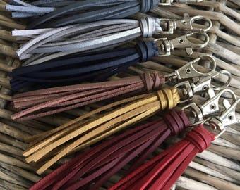 "Faux Leather Bag Charm, Handbag Tassel Charm, Tassel Keychain, Zipper Pull, Purse Charm - 3.5"" Small Faux Leather Tassel on Clip"