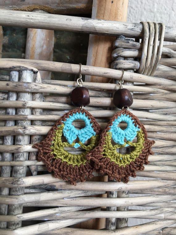 Boho Earrings Crocheted Dangle Statement Earrings Hippie Gypsy Boho Jewelry Modern Bohemian Handmade Gift for Her Birthday Gift