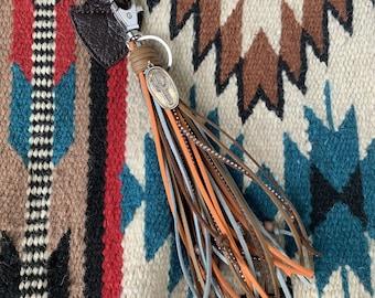 Southwestern Style Fringe Bag Charm with Cactus Charm