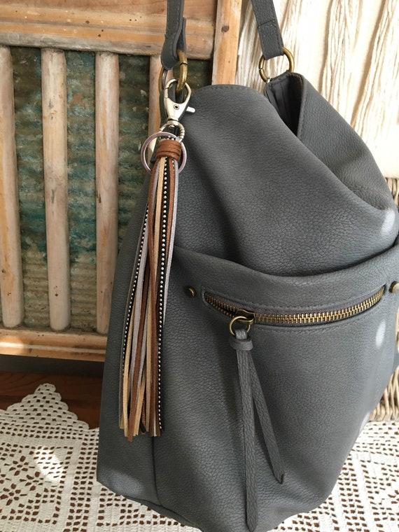 """Shimmer Tassel Keychain, Bag Charm - Large Tassel  8"""" + clip - Fringe Tassel Keychain, Tassel for Purse, Boho Keychain Gift for Her (LT201))"""