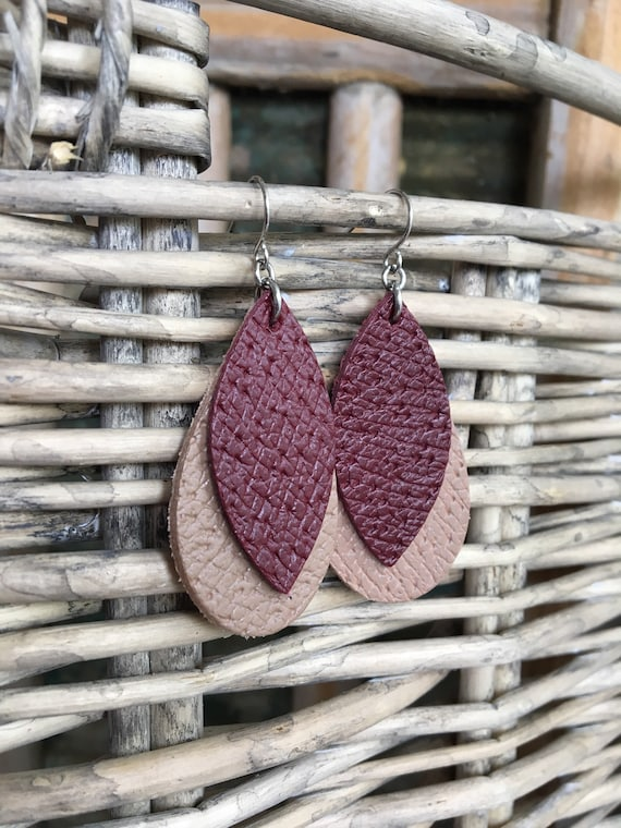 Geometric Leather Earrings in Burgundy and Brown Textured Leather - Lightweight Leather Leaf and Teardrop - Modern Boho Dangle Earrings
