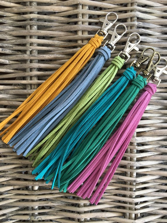 "Bag Tassel Charm  -6"" Tassel on Clip - Backpack Charm, Zipper Charm, Handbag Tassel, Purse Charm (ST115)"