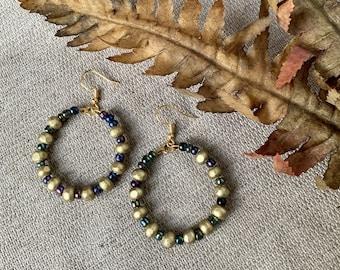 Wood Bead Hoop Earrings in Gold and Seed Beads - Boho Earrings for Women
