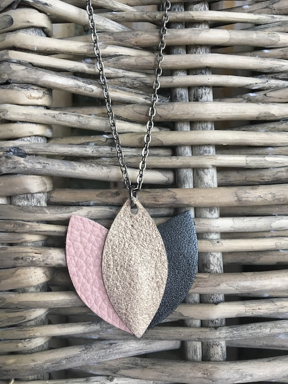 """Lotus Necklace, Leather Flower Necklace - Choose 16"""" or 18"""" Length - Mother's Day Gift - Gift for Her - Dainty Lotus Pendant Jewelry"""