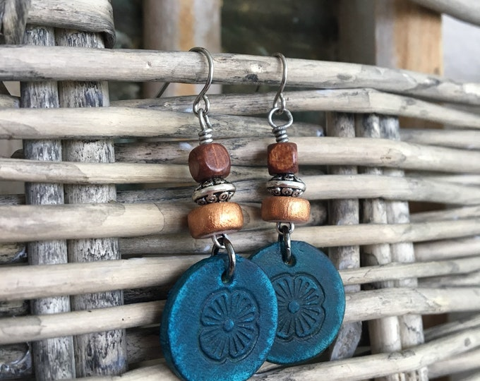 Featured listing image: Leather Earrings - Western Style Bohemian Dangles with Flower Stamped Leather Disc & Wood Beads - Natural Jewelry, Small Lightweight Earring