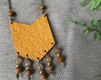 Southwestern Style Leather Chevron Necklace - Golden Yellow with Jasper - Boho Necklace Gift for Her