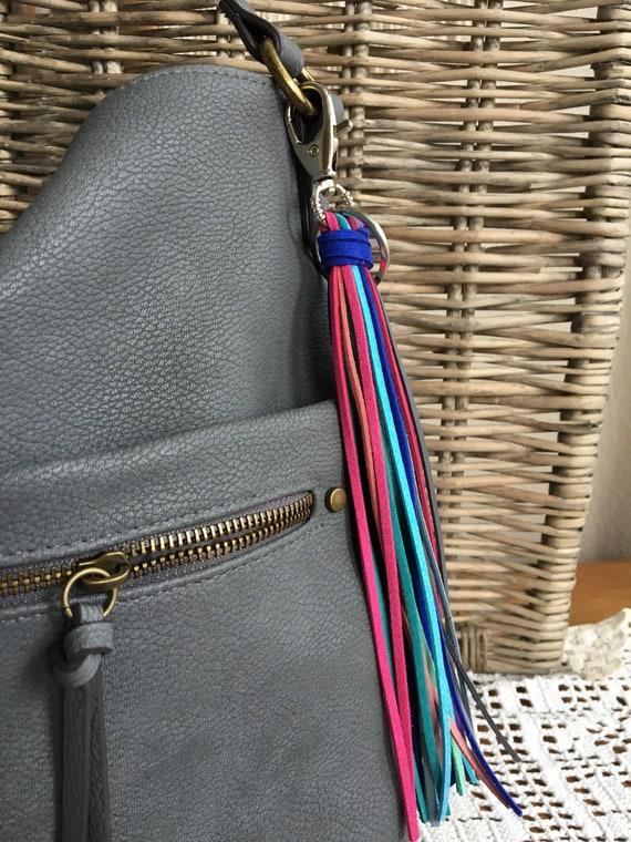 """Tassel Keychain, Bag Charm - Large Tassel  8"""" + clip - Fringe Tassel Keychain, Tassel for Purse, Boho Keychain, Gift for Her (LT129)"""