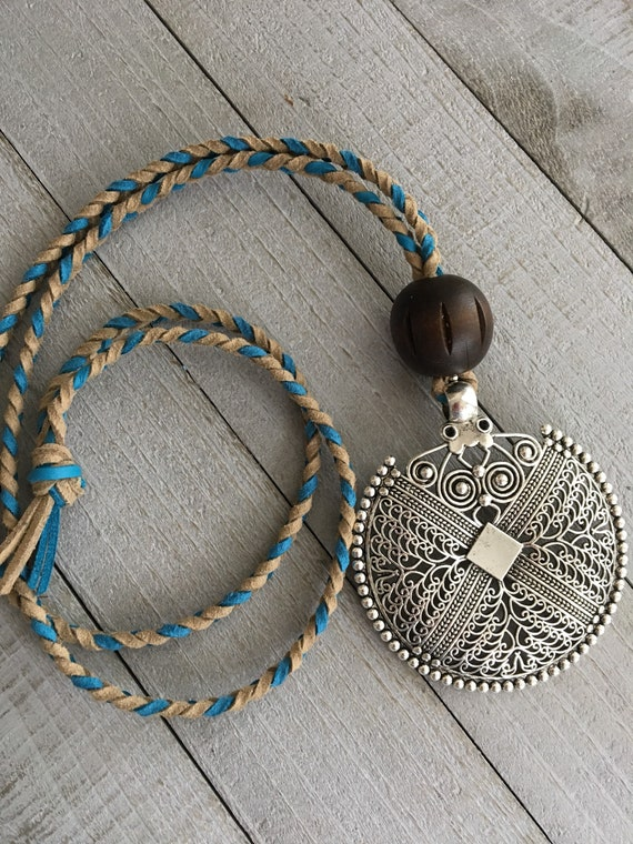 "Boho Necklace - 32"" Braided Faux Suede with Wooden Bead and Bohemian Mandala Pendant - Long Layering Necklace"