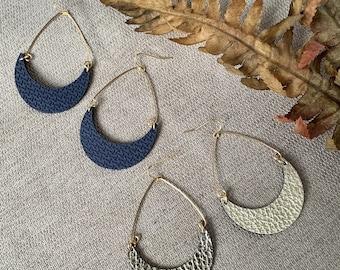 Leather Crescent Hoop Earrings - Semicircle Hoops - Lightweight Statement Earrings
